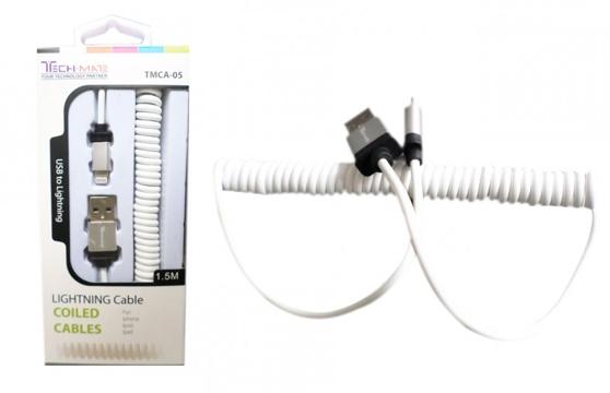 Cáp Sạc Lightning Techmate Dạng Xoắn Tmca-05 (Iphone 5, 5S, 6 ...)