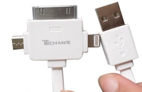 Cáp Sạc Techmate Tmca-03 Đa Năng 3 In 1 (Iphone, Samsung, Htc, Lg, ...)