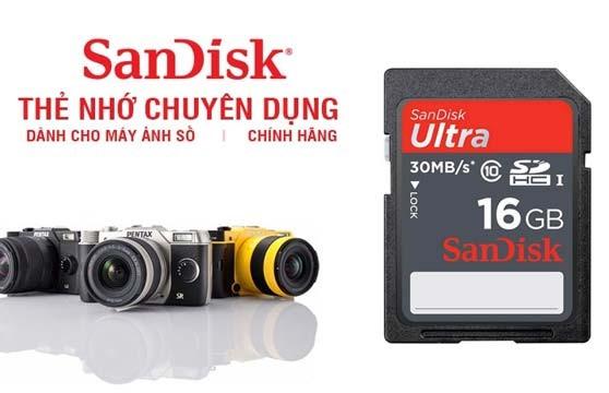 Thẻ Nhớ Sdhc Sandisk 16Gb Class 10 Chính Hãng