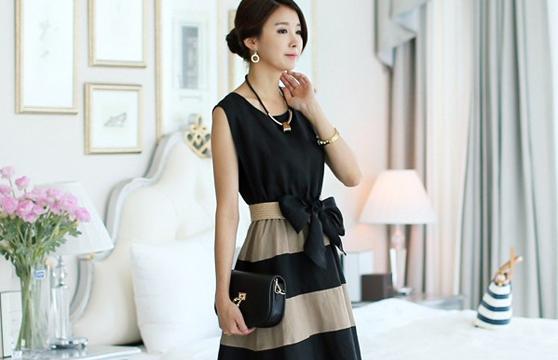 Đầm Xòe Vintage Cột Nơ 1085