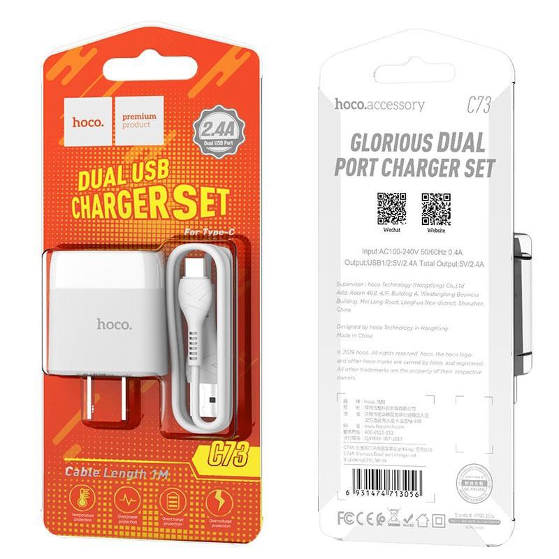 Bộ Dây Và Cóc Sạc Nhanh Hoco C73 2.4A 2 USB Cổng Type-C