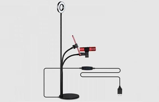 Bộ Livestream Đa Năng 3 Trong 1 - Đèn Led, Giá Đỡ Điện Thoại, Giá Đỡ Micro Cao Cấp