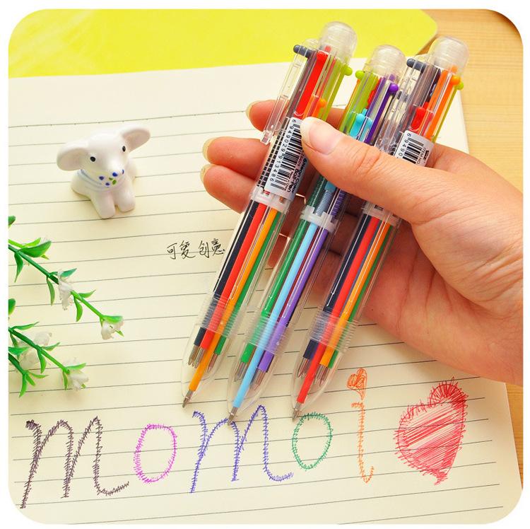 Bút Bi Bấm Sáng Tạo 6 Màu Trong Suốt  Tiện Dụng