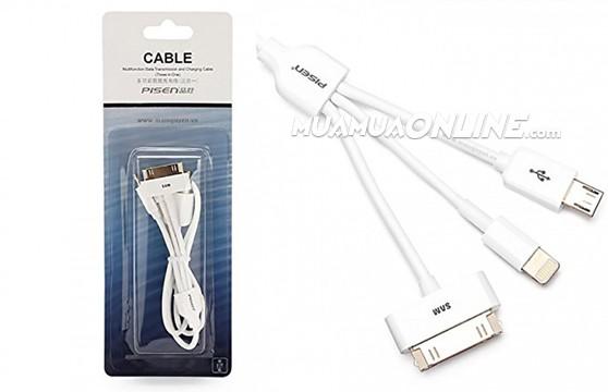 Cáp Sạc 3 Đầu Iphone 4 - Iphone 6 - Samsung Cao Cấp Pisen Chính Hãng