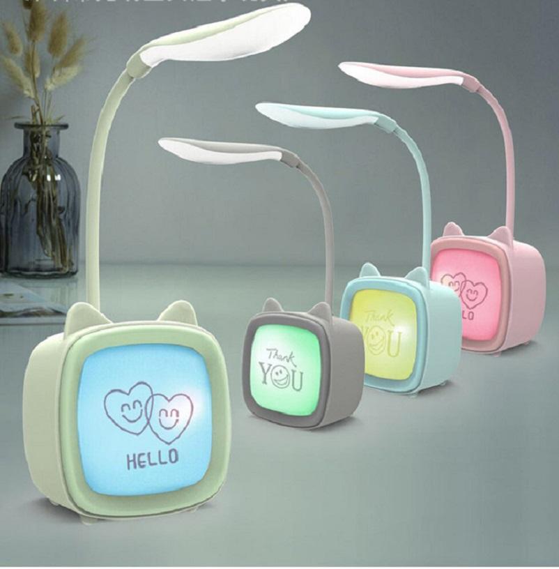 Đèn Led Để Bàn Kiêm Đèn Ngủ Hình Chiếc Lá 3 Chế Độ Sáng Dùng Pin Sạc