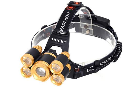 Đèn Pin Đội Đầu 5 Bóng Siêu Sáng + Tặng Kèm Pin Và Bộ Sạc