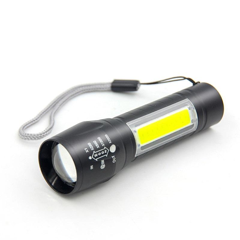 Đèn Pin Sạc Mini Có Zoom  XPE+COB Light Siêu Sáng