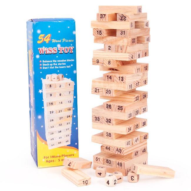 Đồ Chơi Rút Gỗ 54 Thanh Loại Lớn Hộp Màu Xanh Wiss Toy