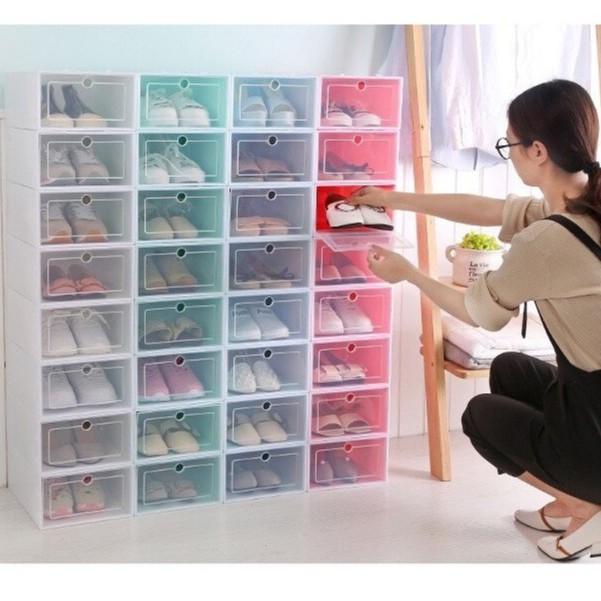Combo 3 Hộp Đựng Giày Nhựa PP Cứng Cáp Tiện Dụng Loại Lớn 33x24x13cm