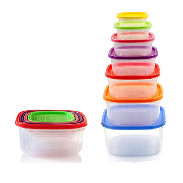 Bộ 7 Hộp Nhựa Đựng Thức Ăn, Thực Phẩm Nhiều Kích Cỡ Tiện Lợi