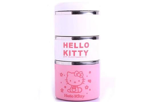 Hộp Cơm Giữ Nhiệt 3 Tầng Hello Kitty Và Doremon