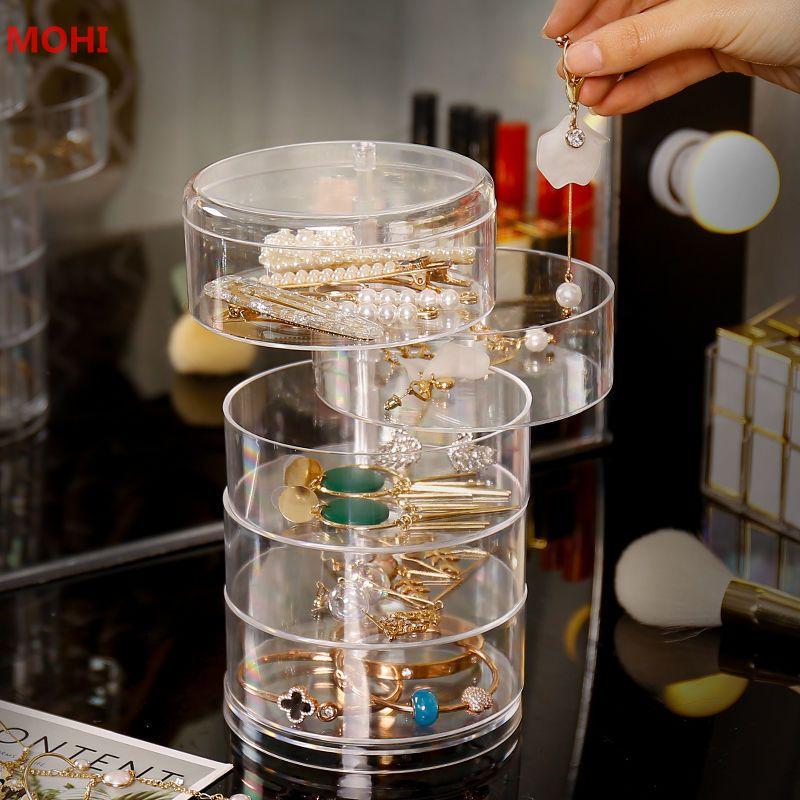 Hộp Nhựa Đựng Trang Sức Trong Suốt 5 Tầng Xoay 360 Độ