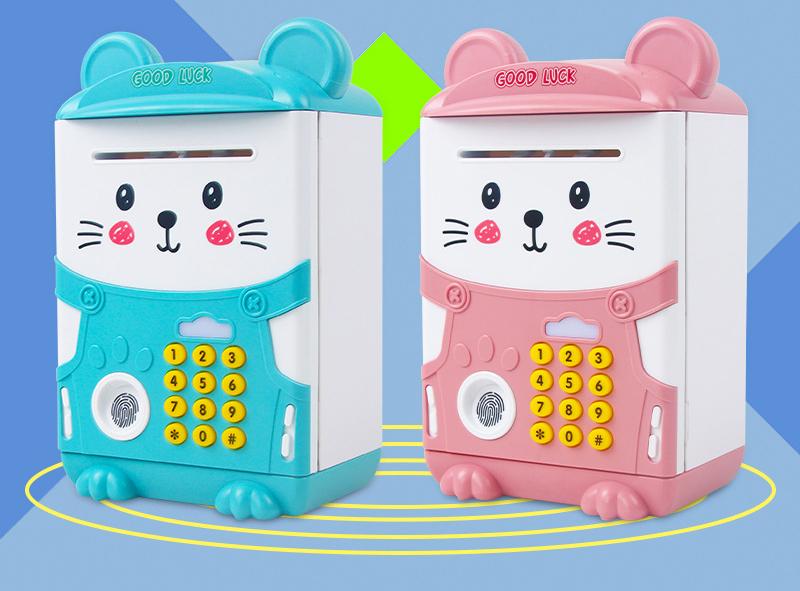 Két Sắt Mini Hình Mèo Có Nhạc Và Cảm ứng Dấu Vân Tay Cho Bé