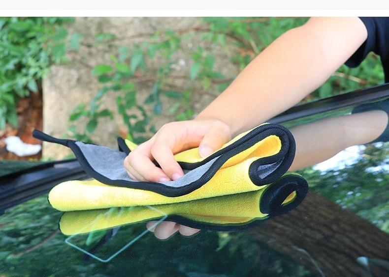Khăn Lau Xe Microfiber 2 Lớp Chuyên Dụng Vải Bông Mềm Thấm Hút Cực Tốt 30x60cm