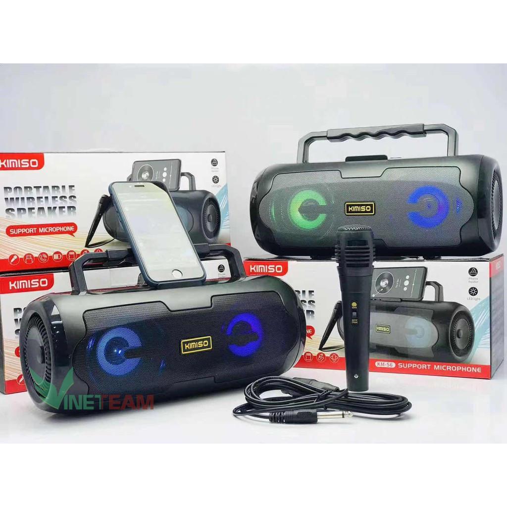 Loa Bluetooth Kimiso KM-S6 Có Led âm Thanh Stereo Cực Hay Tặng Kèm Mic Và Dây