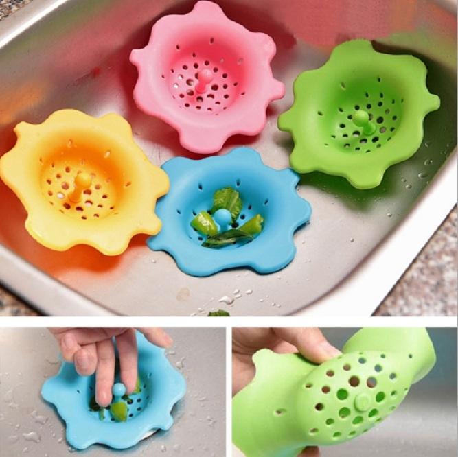Lọc Sàn Bồn Rửa Chén Silicon Hình Bông Hoa