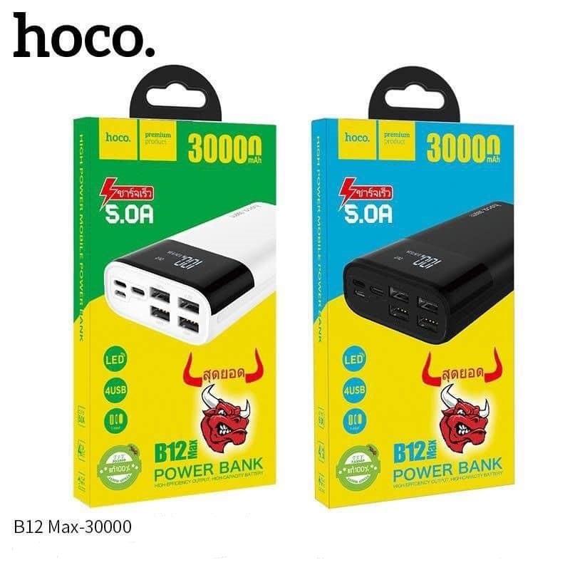 Pin Sạc Dự Phòng Hoco 30000mah B12 Max Hỗ Trợ Sạc Nhanh 5A Đầu Ra 4 Cổng USB