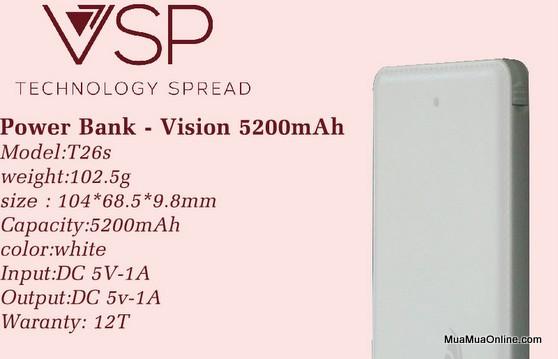Pin Sạc Dự Phòng Vision 5200Mah Chính Hãng