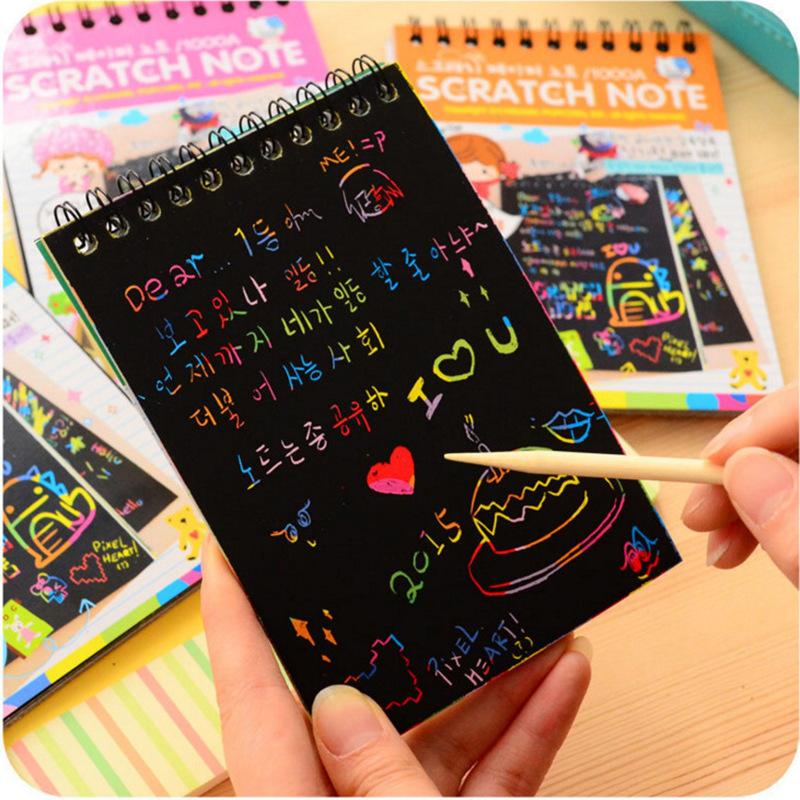 Sổ Tay Ma Thuật Cầu Vòng Scratch Note 14x10cm Cho Bé Kèm Bút Tre