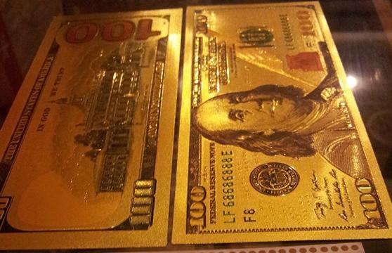 Bộ 10 Tờ Tiền Đô 2 Usd, 100 Usd Mạ Vàng Plastic