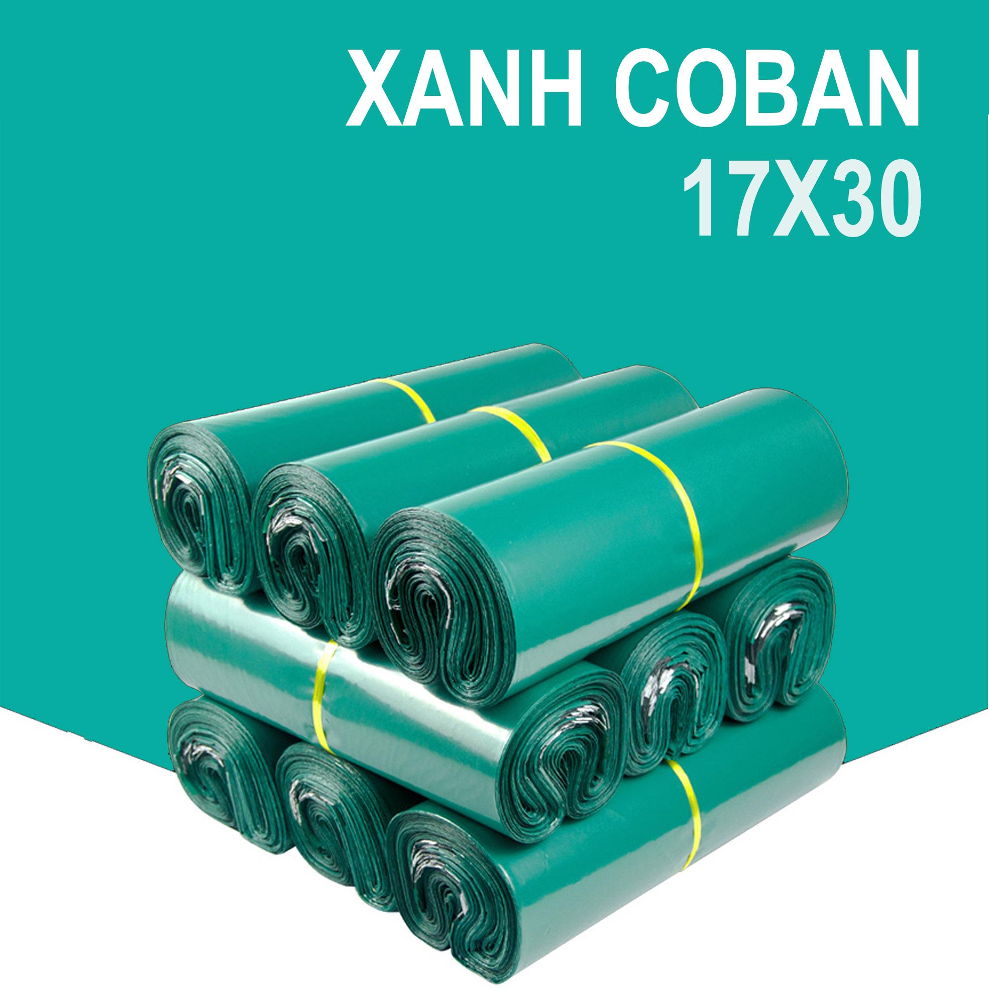 Bộ 100 Túi Nylon Xanh 17x30cm Đóng Hàng Niêm Phong Có Keo Dán Miệng