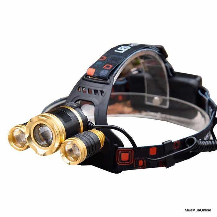 Đèn Pin Đội Đầu 3 Bóng RJ3000 Siêu Sáng Cao Cấp