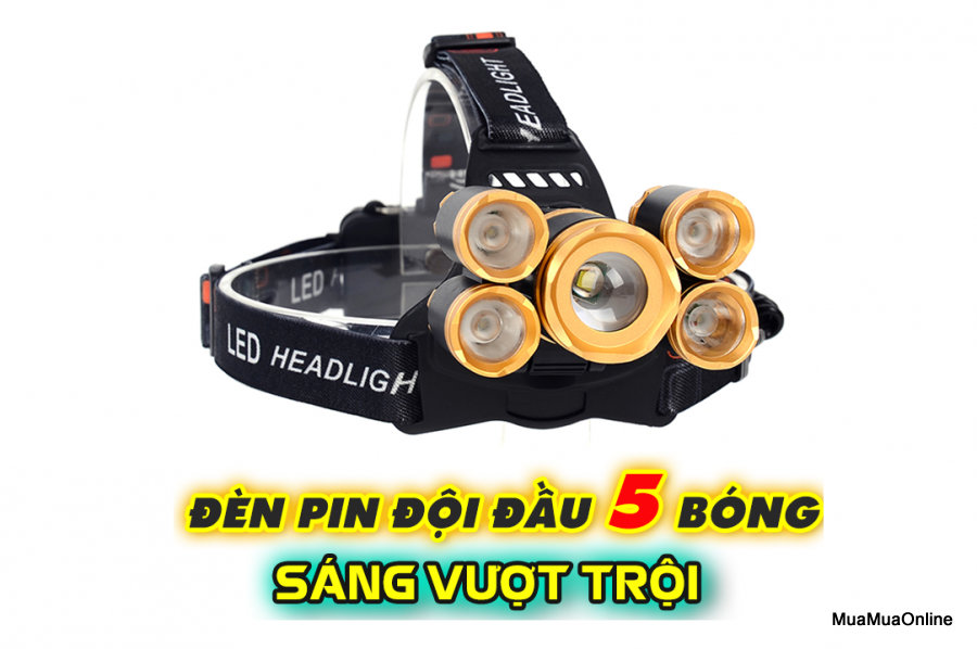 Đèn Pin Đội Đầu 5 Bóng Vàng Siêu Sáng + Tặng Kèm Pin Và Bộ Sạc