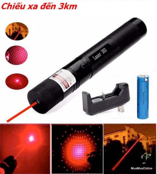 Đèn Pin Laser 303 Tia Đỏ Siêu Sáng Cao Cấp