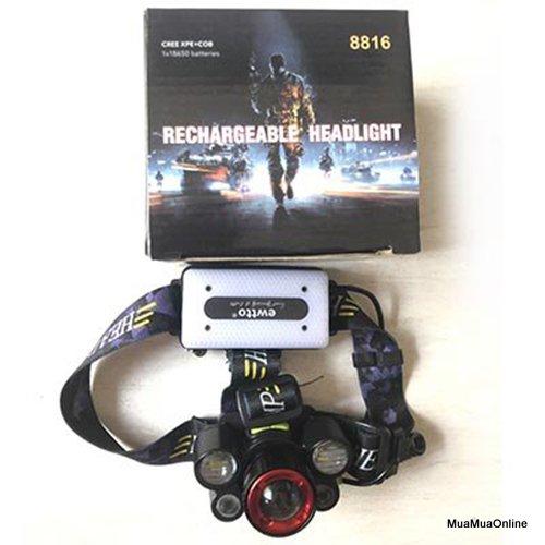 Đèn Pin Sạc Đội Đầu 5 Bóng Cree XPE+COB 8816 Cao Cấp