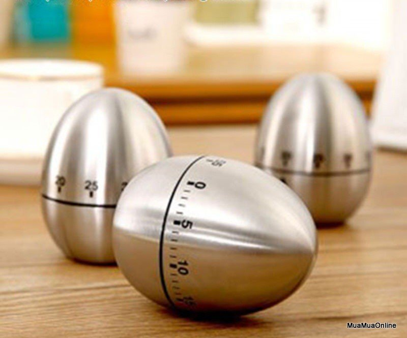 Đồng Hồ Hẹn Giờ Cơ Học Nhà Bếp Hình Quả Trứng Vỏ Inox