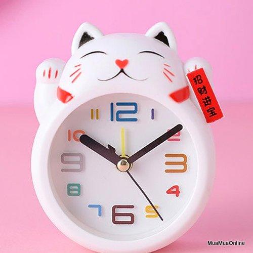 Đồng Hồ Báo Thức Hình Mèo Thần Tài May Mắn