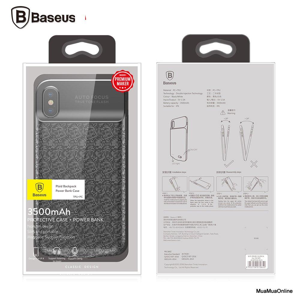 Ốp Lưng Tích Hợp Pin Sạc Dự Phòng Baseus Lv115 Cho Iphone X 3500Mah