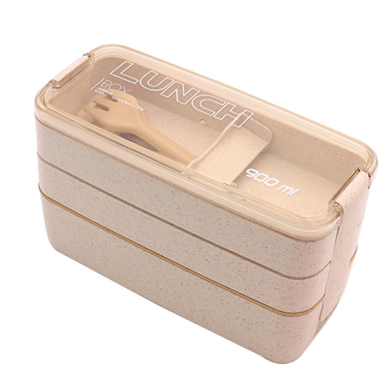 Hộp Cơm 3 Tầng Lúa Mạch Lunch Box + Tặng Kèm Muỗng, Nĩa