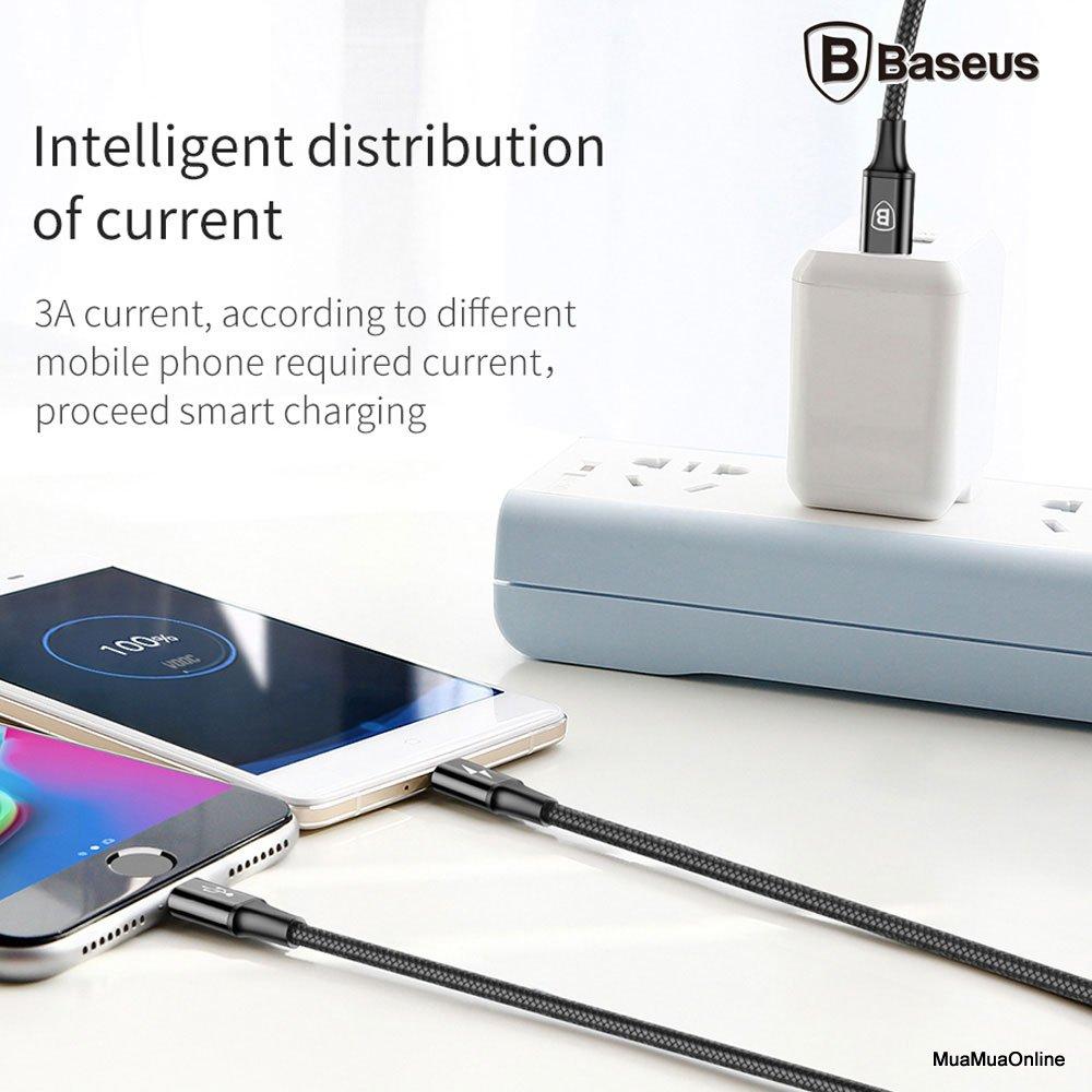 Cáp Sạc Nhanh Baseus Tích Hợp 3 Đầu Kết Nối (Type C To Type C / Android / Iphone ,1.2M, 3A) Truyền Dữ Liệu Tốc Độ Cao