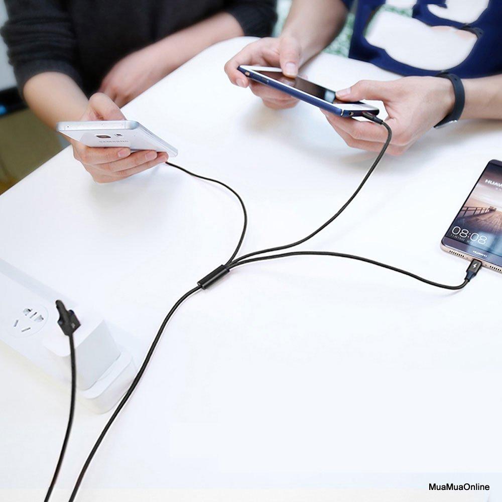 Cáp Sạc Nhanh Baseus Tích Hợp 3 Đầu Kết Nối Type C, Android Và Lightning Truyền Dữ Liệu Tốc Độ Cao