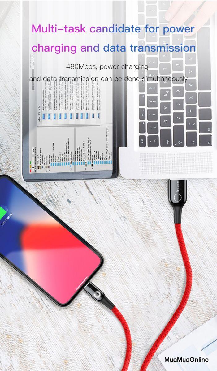 Cáp Sạc Lightning Baseus Cho Iphone 6/ 7/ 8/ Iphone X/ Ipad (2.4A, Sạc Nhanh, Sợi Carbon Siêu Bền)