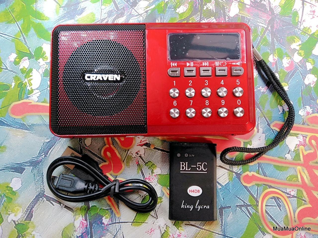 Loa Nghe Nhạc Usb Thẻ Nhớ Fm Craven Cr-65 Có Đèn Pin Siêu Sáng Cao Cấp