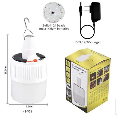 Bóng Đèn Buld Tích Điện V51 Có Remote Điều Khiển Siêu Sáng 2 Chế Độ Sạc Pin Và Năng Lượng Mặt Trời