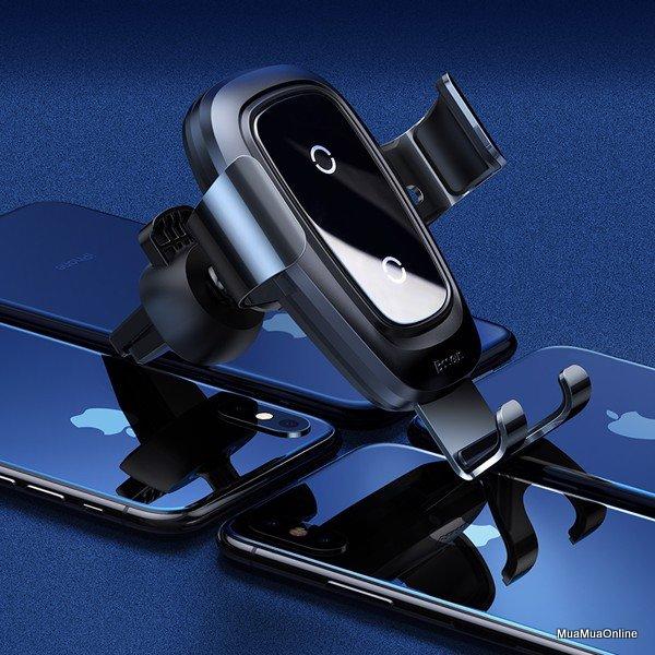 Bộ Đế Giữ Điện Thoại Tích Hợp Sạc Nhanh Không Dây Baseus Metal Wireless Charger Gravity Car Mount