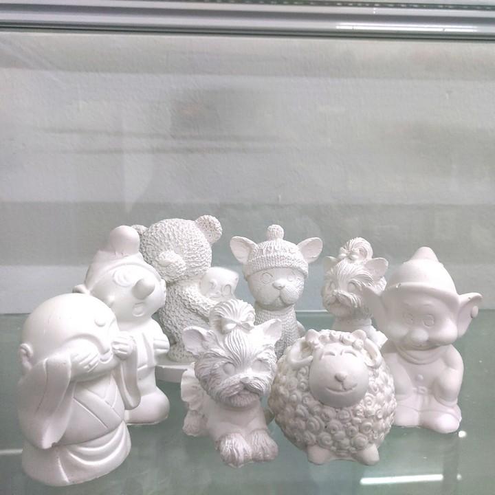 Bộ 10 Tượng Thạch Cao Size 9-11cm Tặng 12 Màu, 2 Cọ, 1 Vỉ