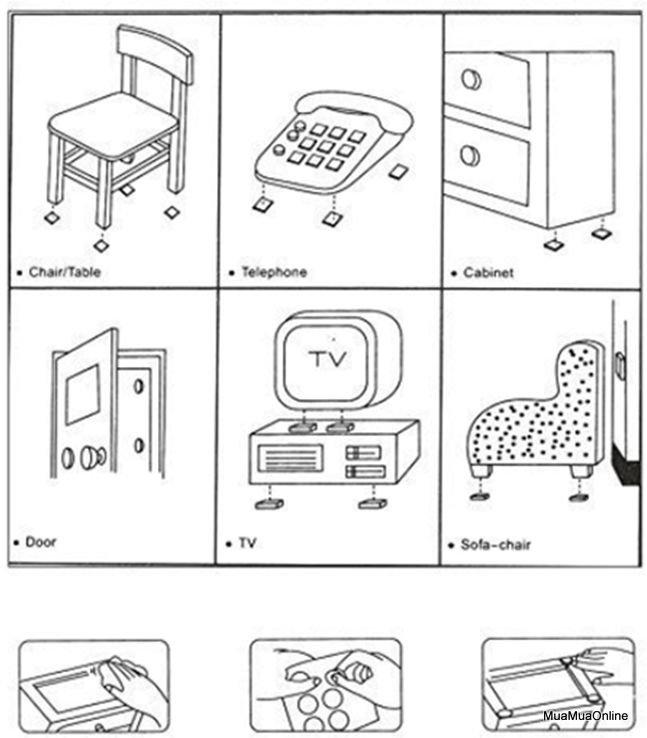 Bộ 12 Miếng Lót Chân Ghế, Bàn, Giường, Tủ Tiện Dụng