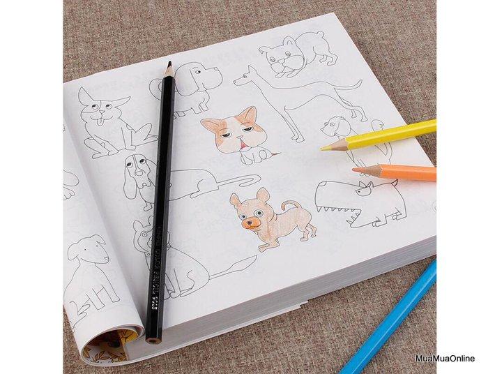 Sách Tô Màu 5000 Hình Dày 360 Trang + Tặng Kèm 12 Cây Bút Chì Màu Cho Bé