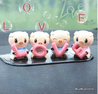 Bộ Tượng 4 Chú Heo Ôm Chữ LOVE