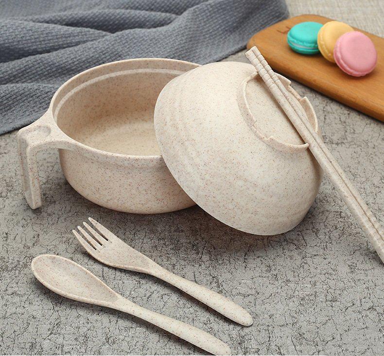 Bộ Ca Ăn Mì Lúa Mạch Có Nắp Tặng Kèm Đũa, Muỗng, Nĩa Tiện Lợi