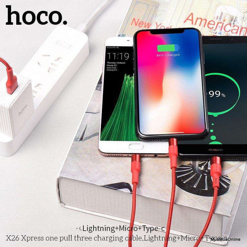 Cáp Sạc Hoco X26 3 Đầu Lightning + Micro Usb + Type-C