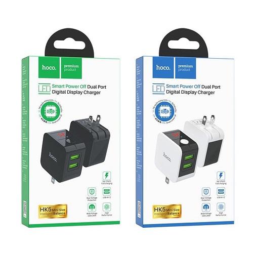 Cóc Sạc Nhanh Tự Ngắt Hoco HK5 2.4A 2 Cổng USB