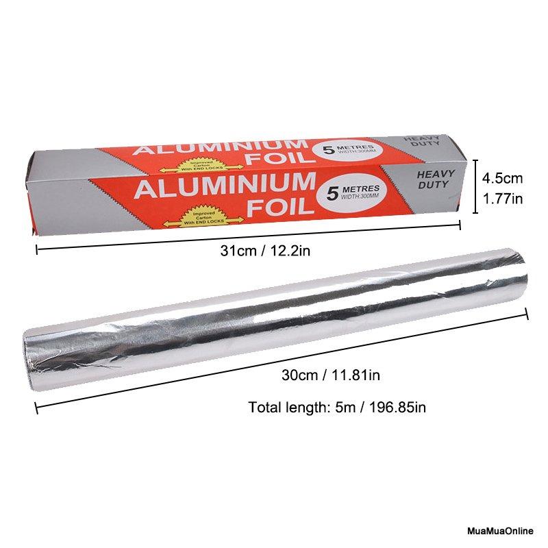 Cuộn Giấy Bạc Bọc Thực Phẩm Aluminium 5m X 30Cm Cao Cấp