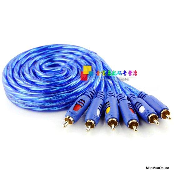 Dây Loa AV 6 Đầu Hoa Sen RCA Dài 1.5M Chống Nhiễu Cao Cấp