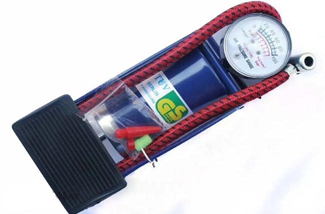 Bơm Hơi Đạp Chân Foot Pump Có Đồng Hồ Áp Suất Hơi Cực Mạnh