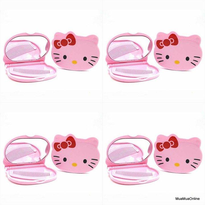 Bộ Gương Soi Và Lượt Mini Hình Mèo Kitty Tiện Dụng